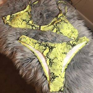 Yellow animal print two piece swimsuit